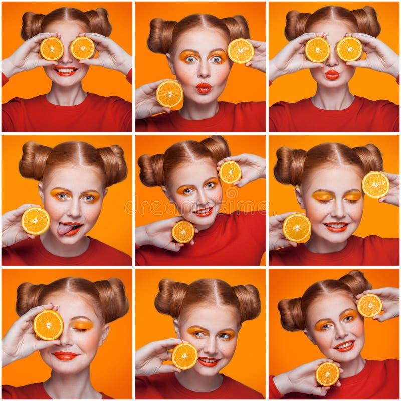 Μωσαϊκό της γυναίκας με το πορτοκάλι και makeup και hairstyle εκφράζοντας τις διαφορετικές συγκινήσεις στοκ φωτογραφία με δικαίωμα ελεύθερης χρήσης