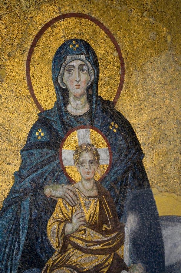 Μωσαϊκό της μητέρας και του παιδιού της Virgin στοκ φωτογραφία με δικαίωμα ελεύθερης χρήσης