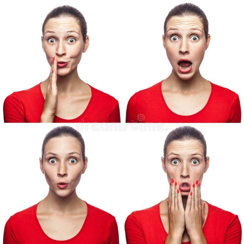 Μωσαϊκό του έκπληκτου ή συγκλονισμένου κοριτσιού με τις φακίδες και της κόκκινης μπλούζας με τέσσερις διαφορετικές κατάπληκτες συ στοκ εικόνα με δικαίωμα ελεύθερης χρήσης