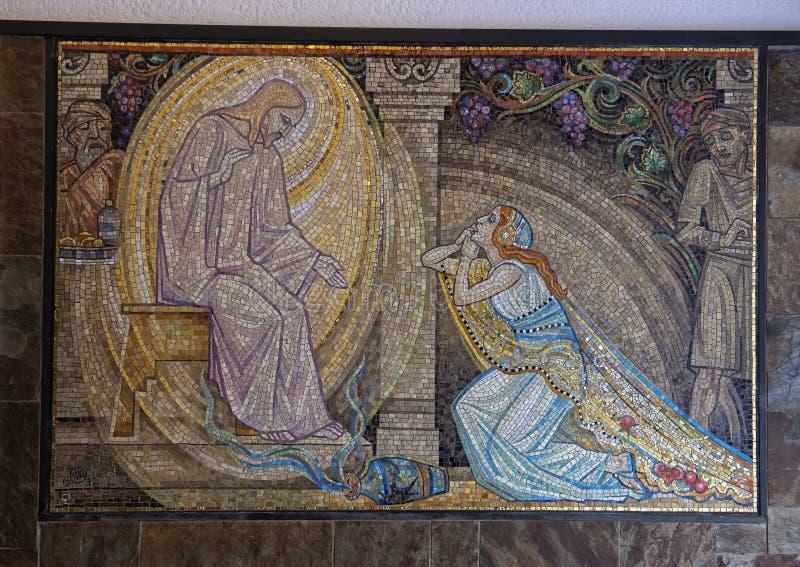 Μωσαϊκό του Ιησούς Χριστού που συγχωρεί την ανήθικη γυναίκα, Άμστερνταμ, οι Κάτω Χώρες στοκ φωτογραφία