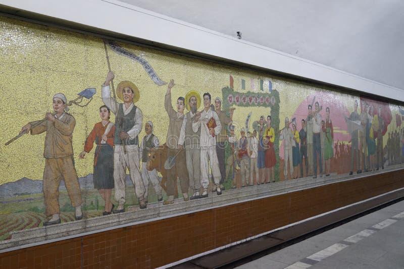 Μωσαϊκό του σταθμού Kaeson, μετρό του Pyongyang στοκ φωτογραφίες