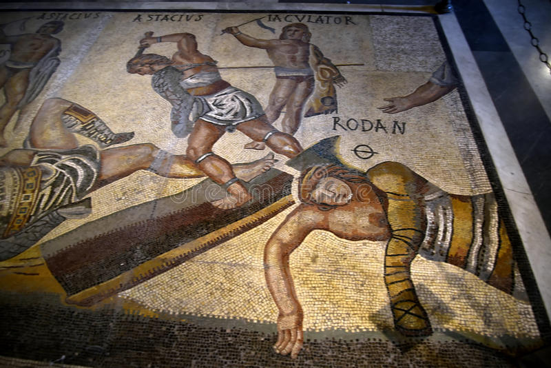 Μωσαϊκό Gladiators στο Galleria Borghese Ρώμη Ιταλία στοκ εικόνες