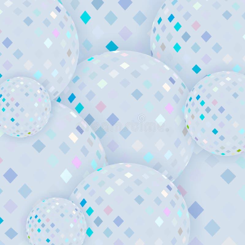 Μωσαϊκών τρισδιάστατο υπόβαθρο σφαιρών γυαλιού σαφές Ανοικτό μπλε αφηρημένο σχέδιο ελεύθερη απεικόνιση δικαιώματος