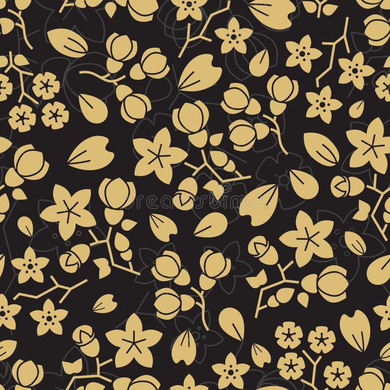 Μόδας χρυσό σχέδιο σχεδίων λουλουδιών άνευ ραφής διανυσματική απεικόνιση