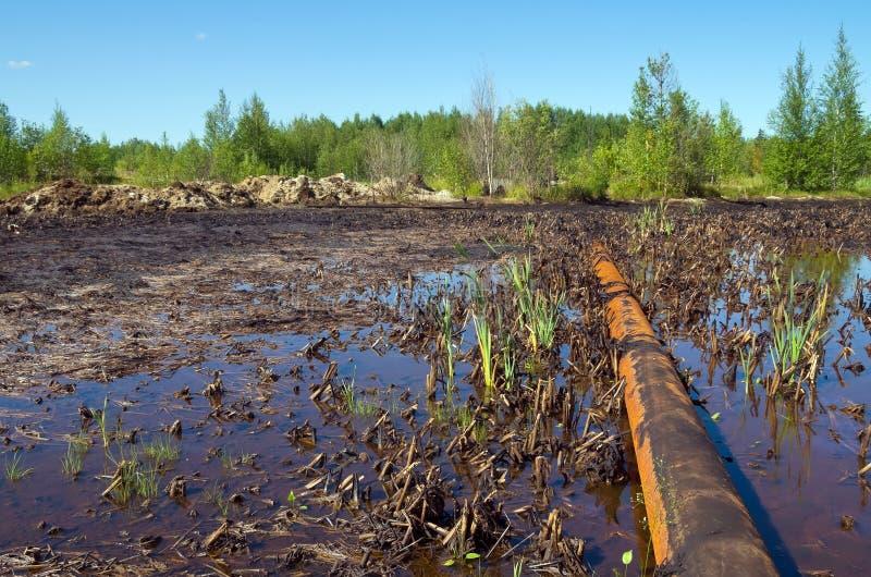 Μόλυνση φύσης από τα προϊόντα πετρελαίου στοκ εικόνα