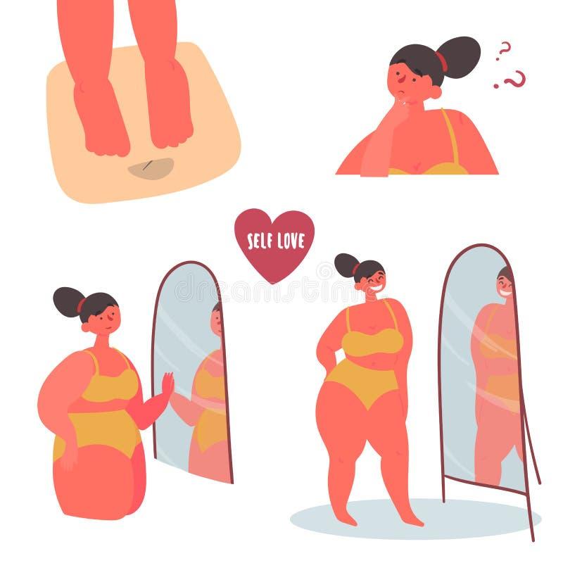 Μόνη αγάπη Συν τη θετική γυναίκα σωμάτων μεγέθους διανυσματική απεικόνιση