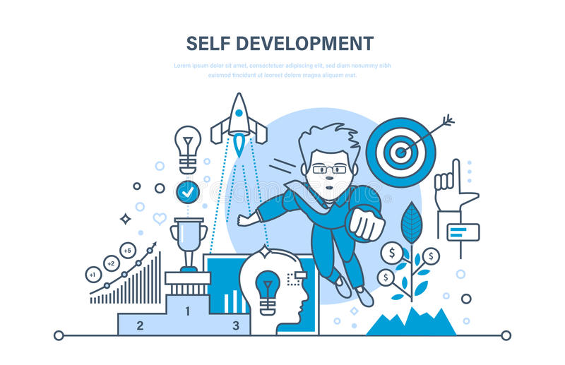 Μόνη ανάπτυξη Χρηματοδότηση αύξησης και εργασία επιτυχίας Πρακτική, ξεκίνημα, ηγεσία διανυσματική απεικόνιση