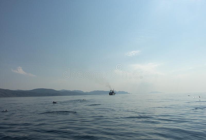 μόνη θάλασσα βαρκών στοκ φωτογραφία με δικαίωμα ελεύθερης χρήσης