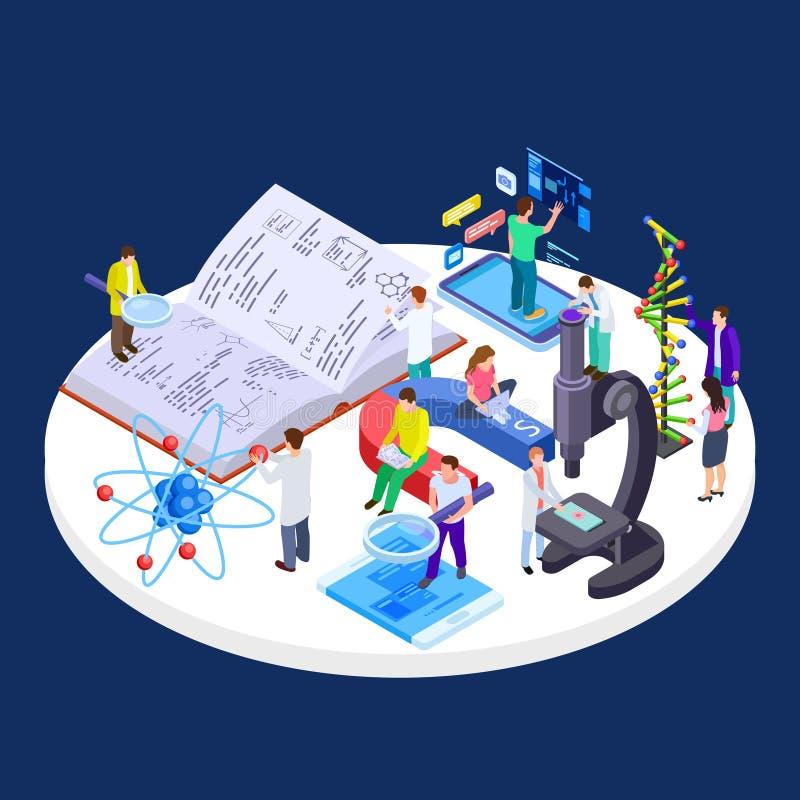 Μόνη και σε απευθείας σύνδεση isometric διανυσματική έννοια εργαστηρίων εκπαίδευσης, επιστήμης και έρευνας απεικόνιση αποθεμάτων