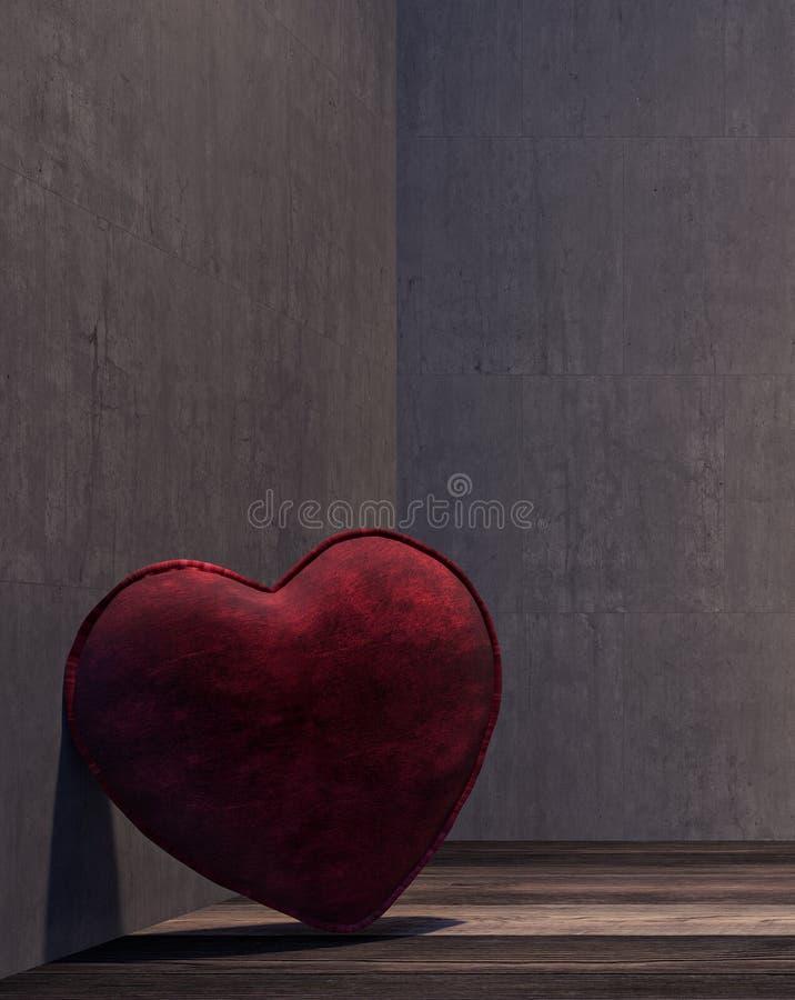 Μόνη καρδιά στη σκοτεινή πλευρά του δωματίου απεικόνιση αποθεμάτων