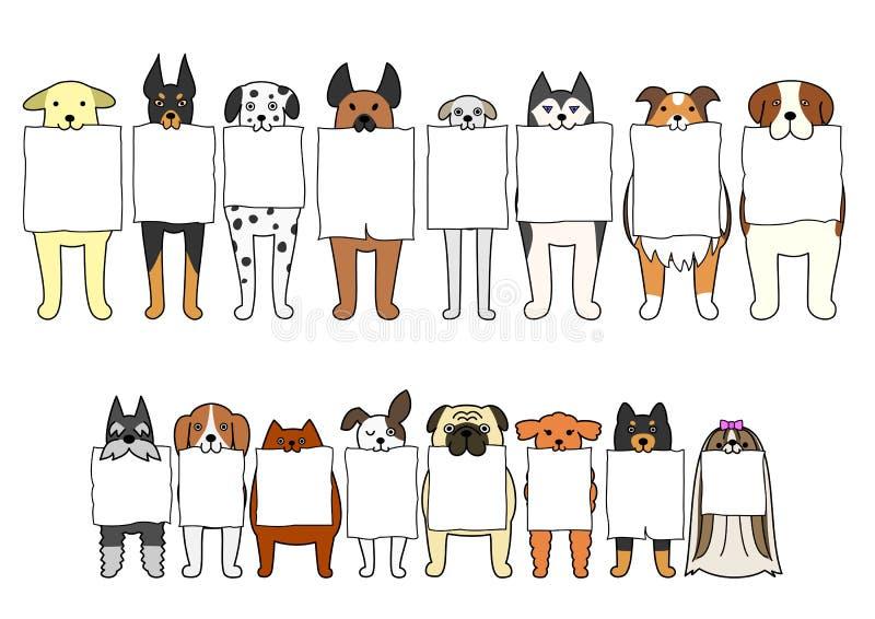 Μόνιμα σκυλιά με τον πίνακα στα στόματά τους απεικόνιση αποθεμάτων