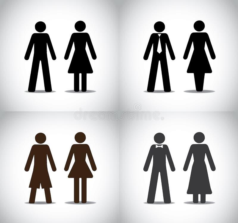 Μόνιμη έννοια συμβόλων κοριτσιών γυναικών ή αγοριών ανδρών ελεύθερη απεικόνιση δικαιώματος