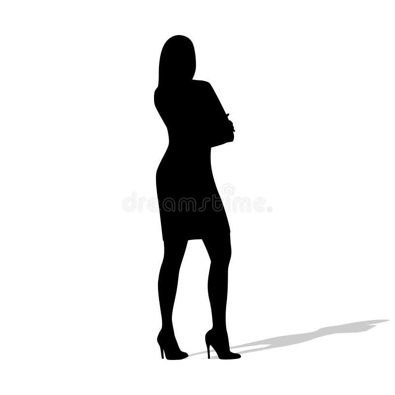 Μόνιμη επιχειρησιακή γυναίκα με τα διπλωμένα όπλα διανυσματική απεικόνιση