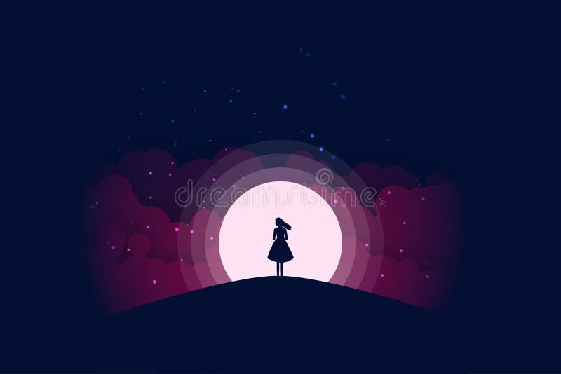 Μόνιμη σκιαγραφία κοριτσιών κάτω από το φεγγάρι τη νύχτα διανυσματική απεικόνιση