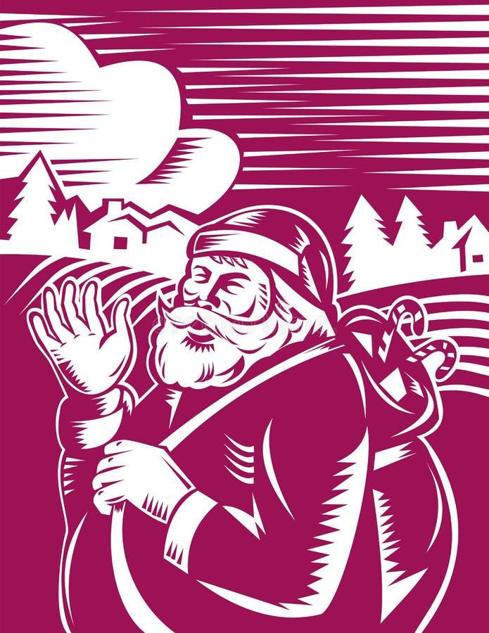 μόνιμος κυματισμός santa Claus διανυσματική απεικόνιση