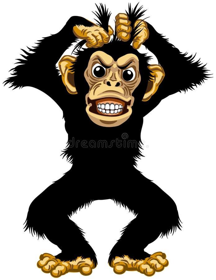 Μόνιμος 0 χιμπατζής κινούμενων σχεδίων ελεύθερη απεικόνιση δικαιώματος