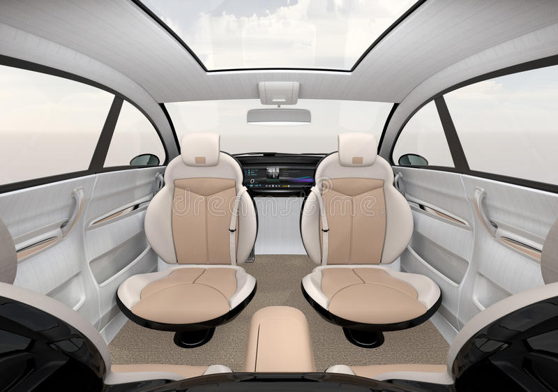 Μόνος-οδηγώντας εσωτερική έννοια SUV διανυσματική απεικόνιση