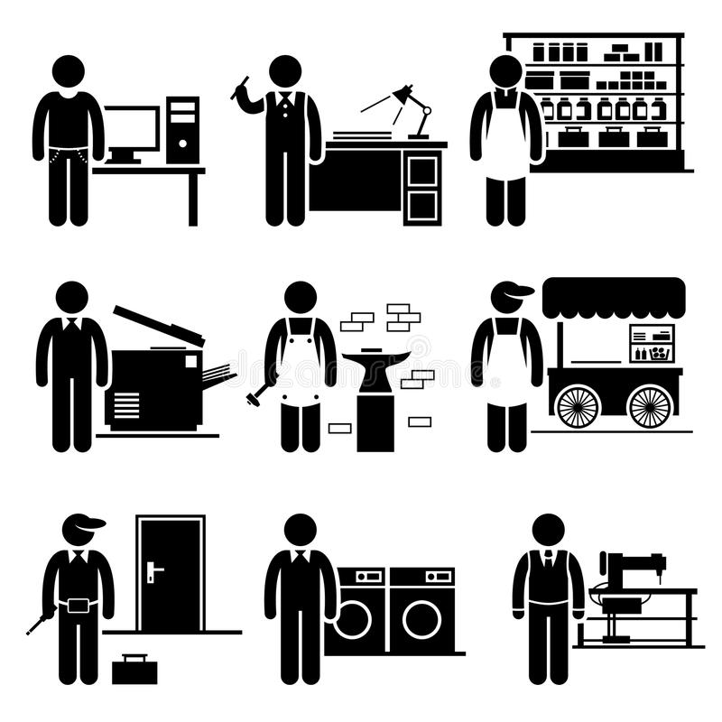 Μόνος - υιοθετημένη σταδιοδρομία εργασιών μικρών επιχειρήσεων απεικόνιση αποθεμάτων