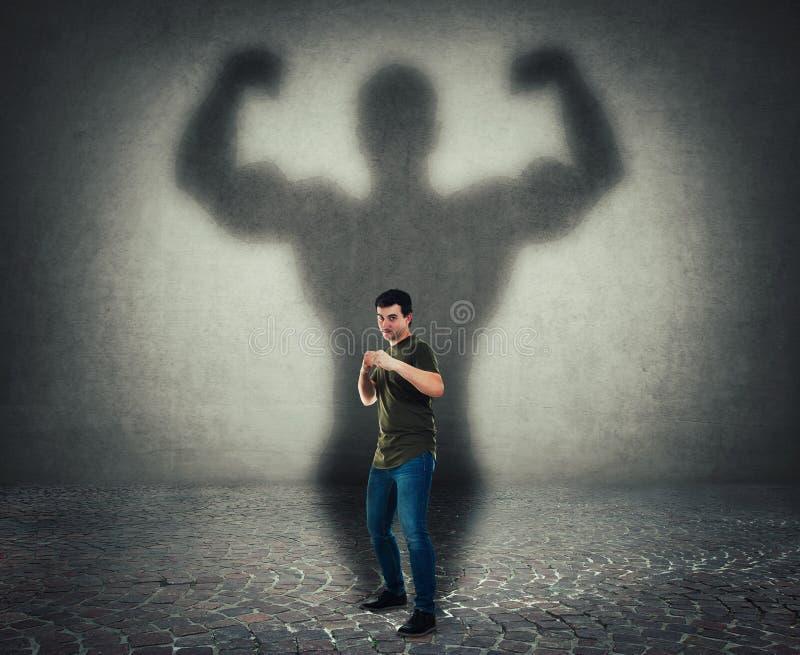 Μόνος - υπεράσπιση, εσωτερικές δύναμη και έννοια κινήτρου ελεύθερη απεικόνιση δικαιώματος