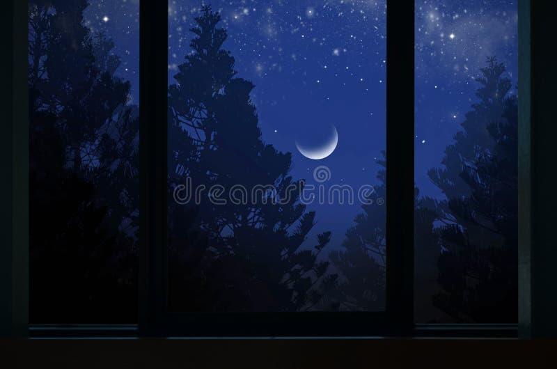 Μόνο εξασθενίζοντας φεγγάρι πέρα από τα δέντρα πεύκων στο πλαίσιο παραθύρων στοκ φωτογραφία