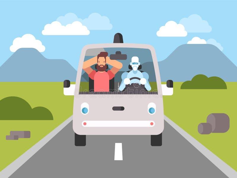 Μόνο οδηγώντας ευφυές driverless αυτοκίνητο απεικόνιση αποθεμάτων