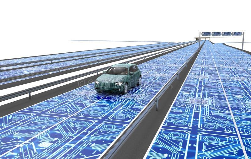Μόνο οδηγώντας αυτοκίνητο ηλεκτρονικών υπολογιστών στο δρόμο ελεύθερη απεικόνιση δικαιώματος
