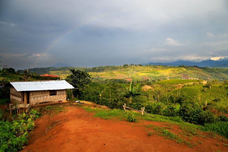 Μόνο σπίτι στα πράσινα βουνά στοκ εικόνες