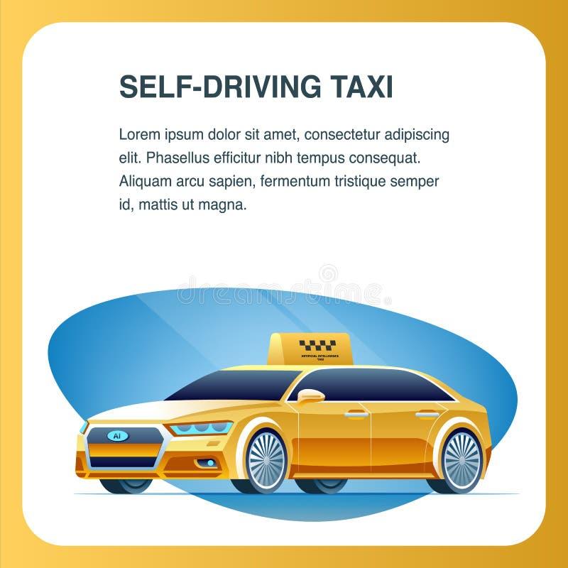Μόνο Drive όχημα ταξί Τετραγωνικό διανυσματικό έμβλημα ελεύθερη απεικόνιση δικαιώματος