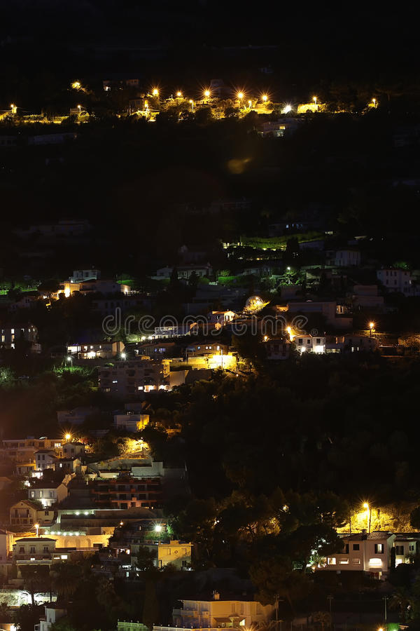 Μόντε Κάρλο Μονακό τη νύχτα στοκ εικόνα με δικαίωμα ελεύθερης χρήσης