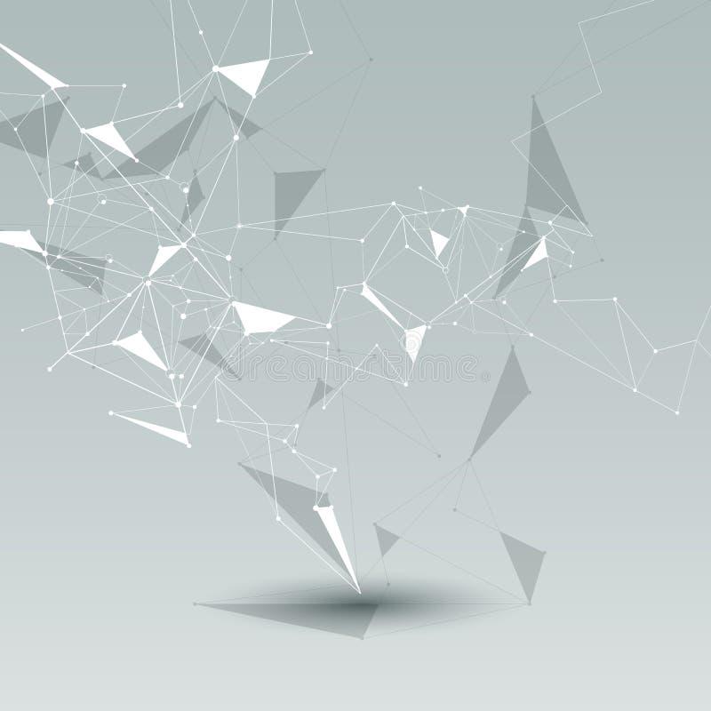 Μόρια με τη γραμμή, τον κόμβο, γεωμετρικό, χαμηλό πολυ, το πολύγωνο και το τρίγωνο Διανυσματική τεχνολογία σύνδεσης δικτύων σχεδί διανυσματική απεικόνιση