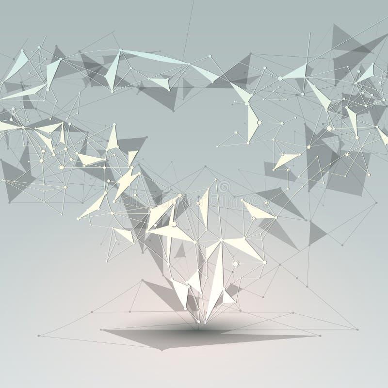 Μόρια με τη γραμμή, τον κόμβο, γεωμετρικό, χαμηλό πολυ, το πολύγωνο και το τρίγωνο Διανυσματική τεχνολογία σύνδεσης δικτύων σχεδί απεικόνιση αποθεμάτων