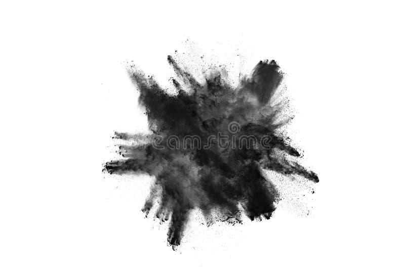Μόρια της έκρηξης σκονών ξυλάνθρακα στο άσπρο υπόβαθρο στοκ φωτογραφίες με δικαίωμα ελεύθερης χρήσης