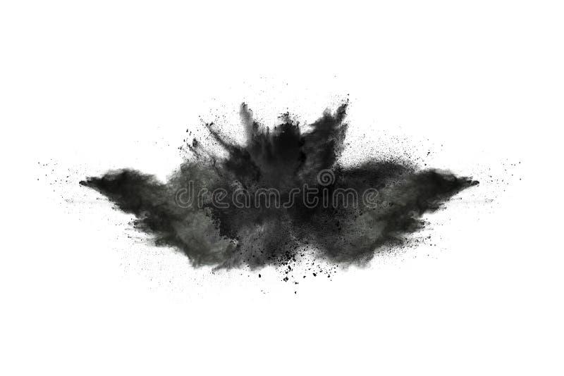 Μόρια της έκρηξης σκονών ξυλάνθρακα στο άσπρο υπόβαθρο στοκ εικόνες με δικαίωμα ελεύθερης χρήσης