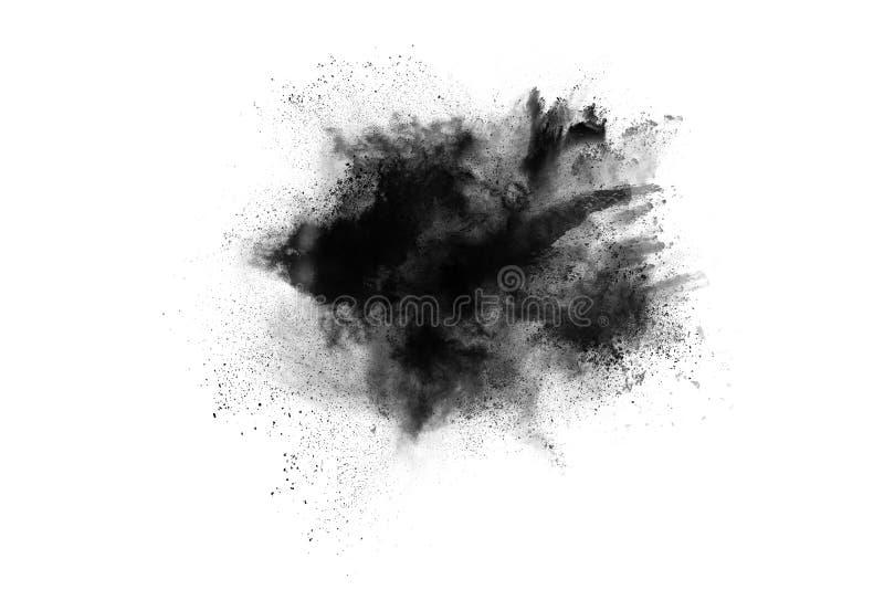 Μόρια της έκρηξης σκονών ξυλάνθρακα στο άσπρο υπόβαθρο στοκ φωτογραφία με δικαίωμα ελεύθερης χρήσης