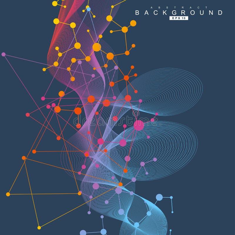 Μόριο και επικοινωνία δομών DNA, άτομο, νευρώνες Επιστημονική έννοια για το σχέδιό σας Συνδεδεμένες γραμμές με τα σημεία ελεύθερη απεικόνιση δικαιώματος
