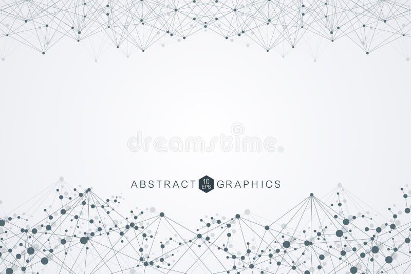 Μόριο και επικοινωνία δομών DNA, άτομο, νευρώνες Επιστημονική έννοια για το σχέδιό σας Συνδεδεμένες γραμμές με τα σημεία διανυσματική απεικόνιση