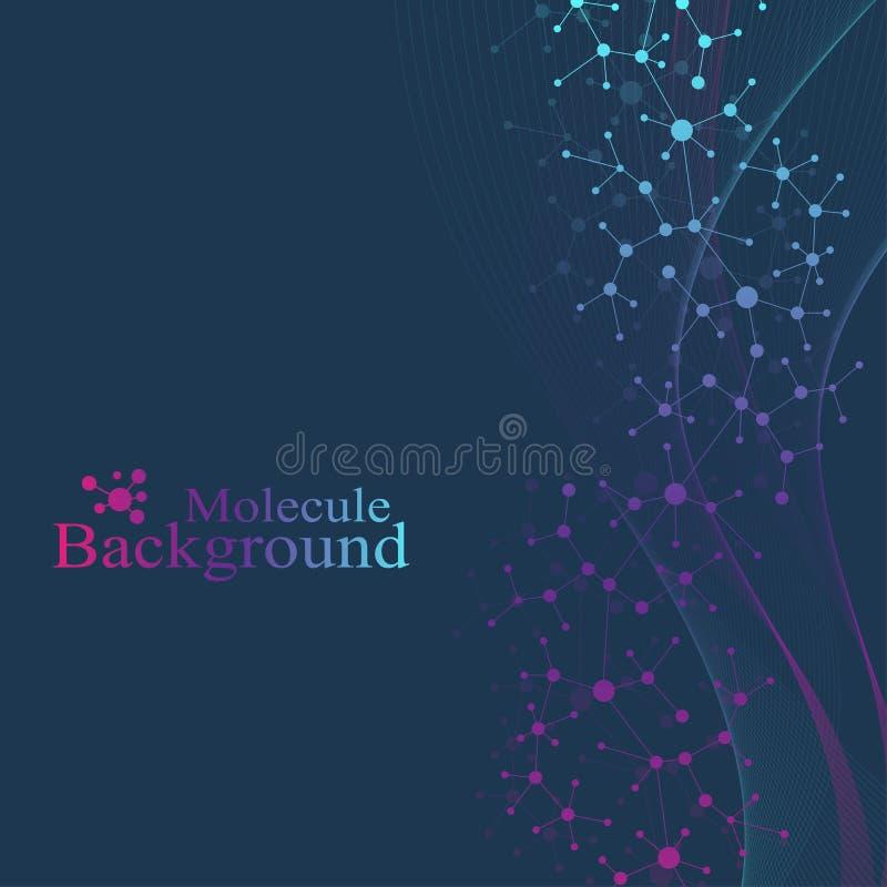 Μόριο και επικοινωνία δομών DNA, άτομο, νευρώνες Επιστημονικό υπόβαθρο μορίων για την ιατρική, επιστήμη διανυσματική απεικόνιση