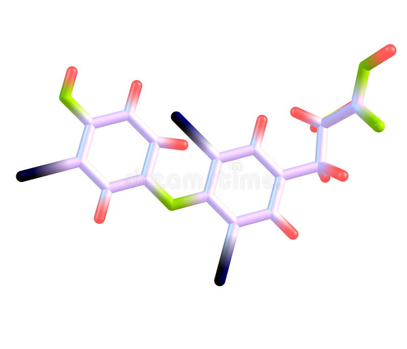 Μόριο Triiodothyronine που απομονώνεται στο λευκό διανυσματική απεικόνιση