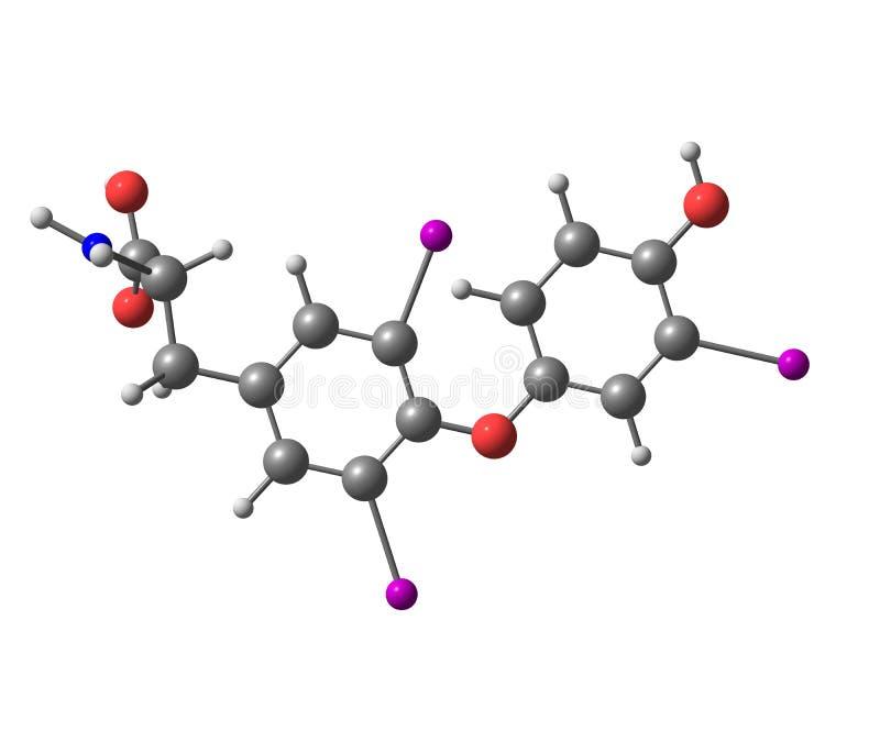 Μόριο Triiodothyronine που απομονώνεται στο λευκό ελεύθερη απεικόνιση δικαιώματος