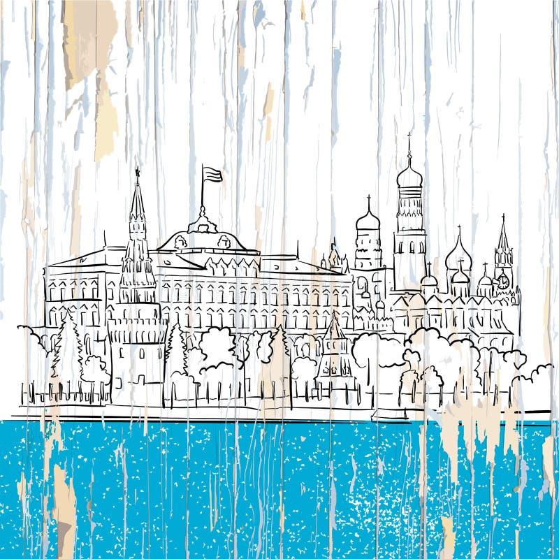 Μόσχα Κρεμλίνο που επισύρει την προσοχή στο ξύλο διανυσματική απεικόνιση