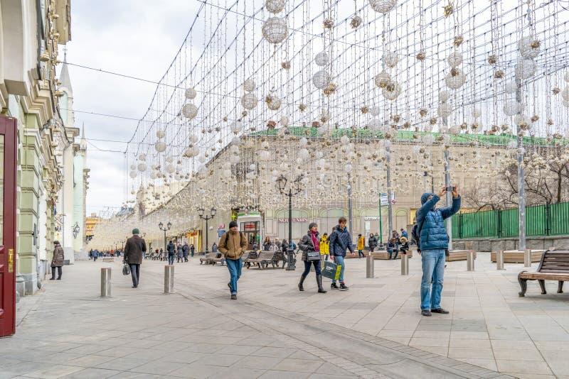 Μόσχα Οδός Nikolskaya Διακόσμηση γιρλαντών στοκ εικόνες