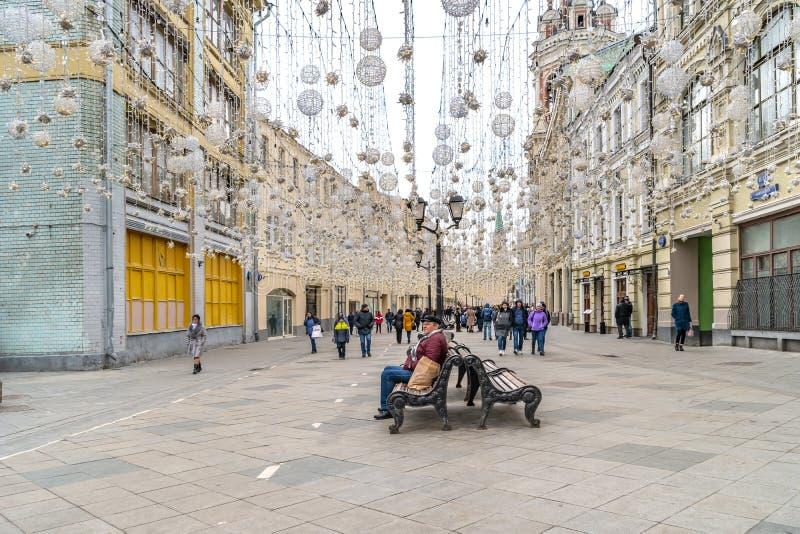 Μόσχα Οδός Nikolskaya Διακόσμηση γιρλαντών στοκ φωτογραφία με δικαίωμα ελεύθερης χρήσης