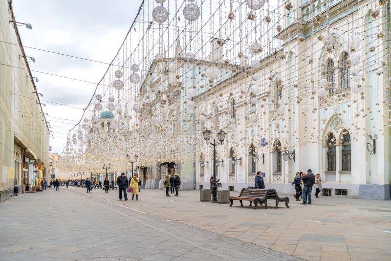 Μόσχα Οδός Nikolskaya Διακόσμηση γιρλαντών στοκ φωτογραφία