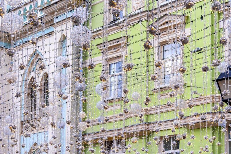 Μόσχα Οδός Nikolskaya Διακόσμηση γιρλαντών στοκ φωτογραφίες