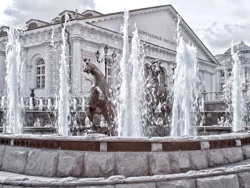 Μόσχα Πηγή Τετράγωνο Manezhnaya και κήπος του Αλεξάνδρου υπό στοκ εικόνα