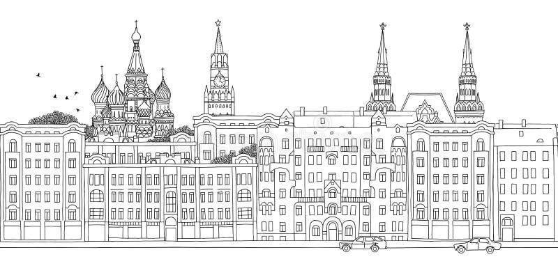 Μόσχα, Ρωσία - άνευ ραφής έμβλημα ελεύθερη απεικόνιση δικαιώματος
