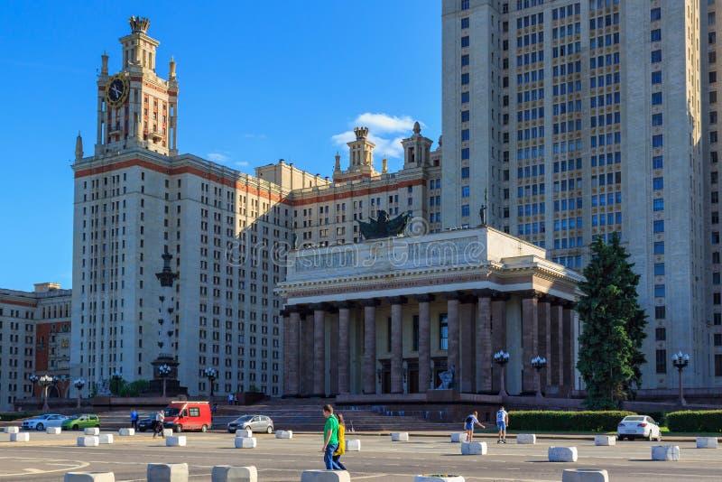 Μόσχα, Ρωσία - 2 Ιουνίου 2018: Άποψη της κυρίας είσοδος στην οικοδόμηση του κρατικού πανεπιστημίου MSU Lomonosov Μόσχα το ηλιόλου στοκ εικόνα