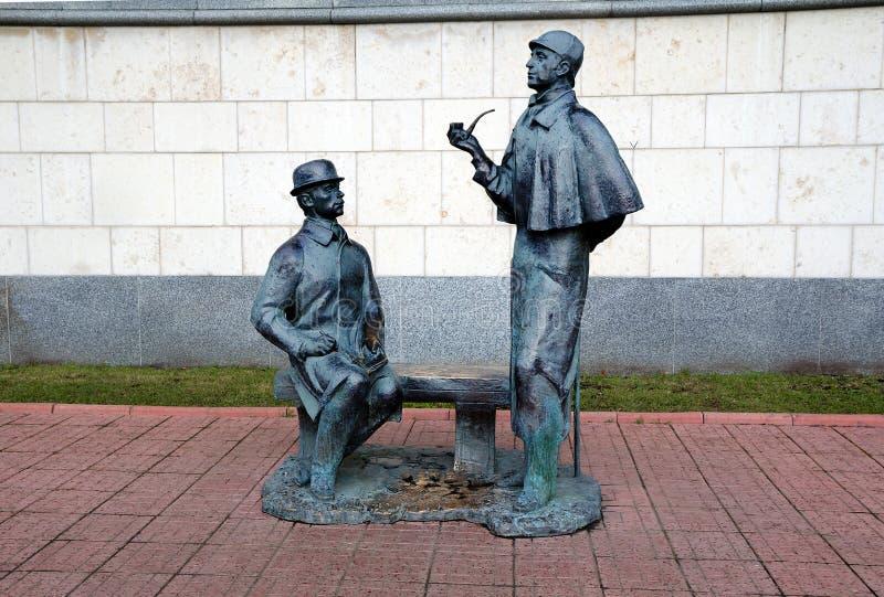 Μόσχα Ρωσία 25 Οκτωβρίου, 25, 2013 Μνημείο σε Sherlock Holmes στοκ φωτογραφία με δικαίωμα ελεύθερης χρήσης