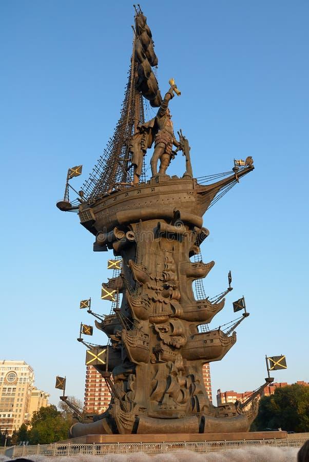 Μόσχα, Ρωσία - 04 Σεπτεμβρίου 2008: Μνημείο για τον ρώσο Τσάρο Πέτρο ο Μέγας στη Μόσχα Ο συγγραφέας Ζουραμπ Τσερετέλι στοκ εικόνες με δικαίωμα ελεύθερης χρήσης
