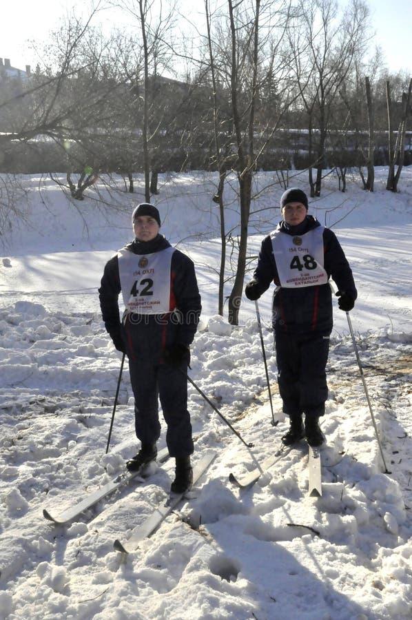 Μόσχα, Ρωσία, στις 2 Ιανουαρίου 2019, αθλητισμός και μαζικά γεγονότα στο 154 χωριστά σύνταγμα Preobrazhensky διοικητών, ανταγωνισ στοκ φωτογραφία